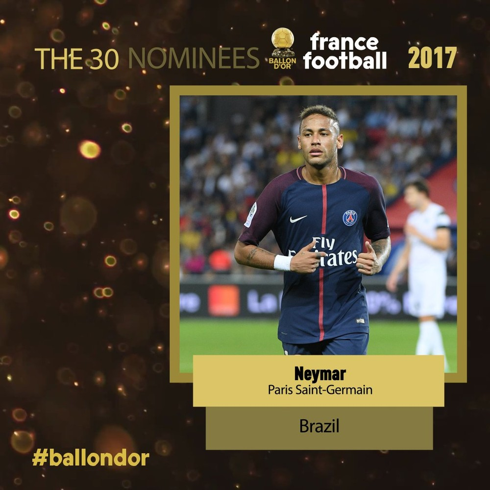 Neymar Jr. is in the list of nominees for the Ballon d Or df378375ed62f
