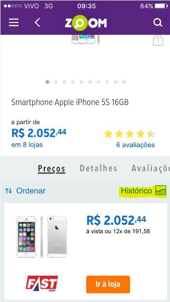 """Imagem 1: Pesquisei o produto """"iPhone"""". Nessa mesma imagem aparece a opção """"Histórico, onde será possível verificar a próxima imagem abaixa dessa."""