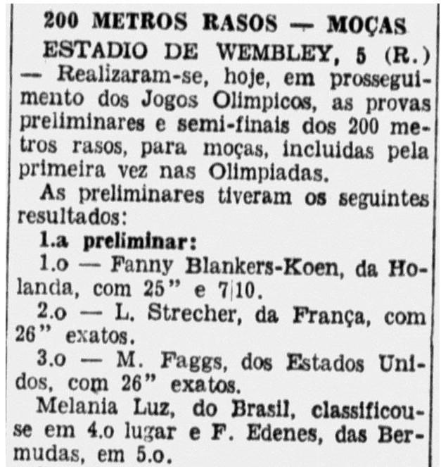 Os resultados dos 200m em 6 de agosto de 1948 - Correio Paulistano / Arquivo da Biblioteca Nacional