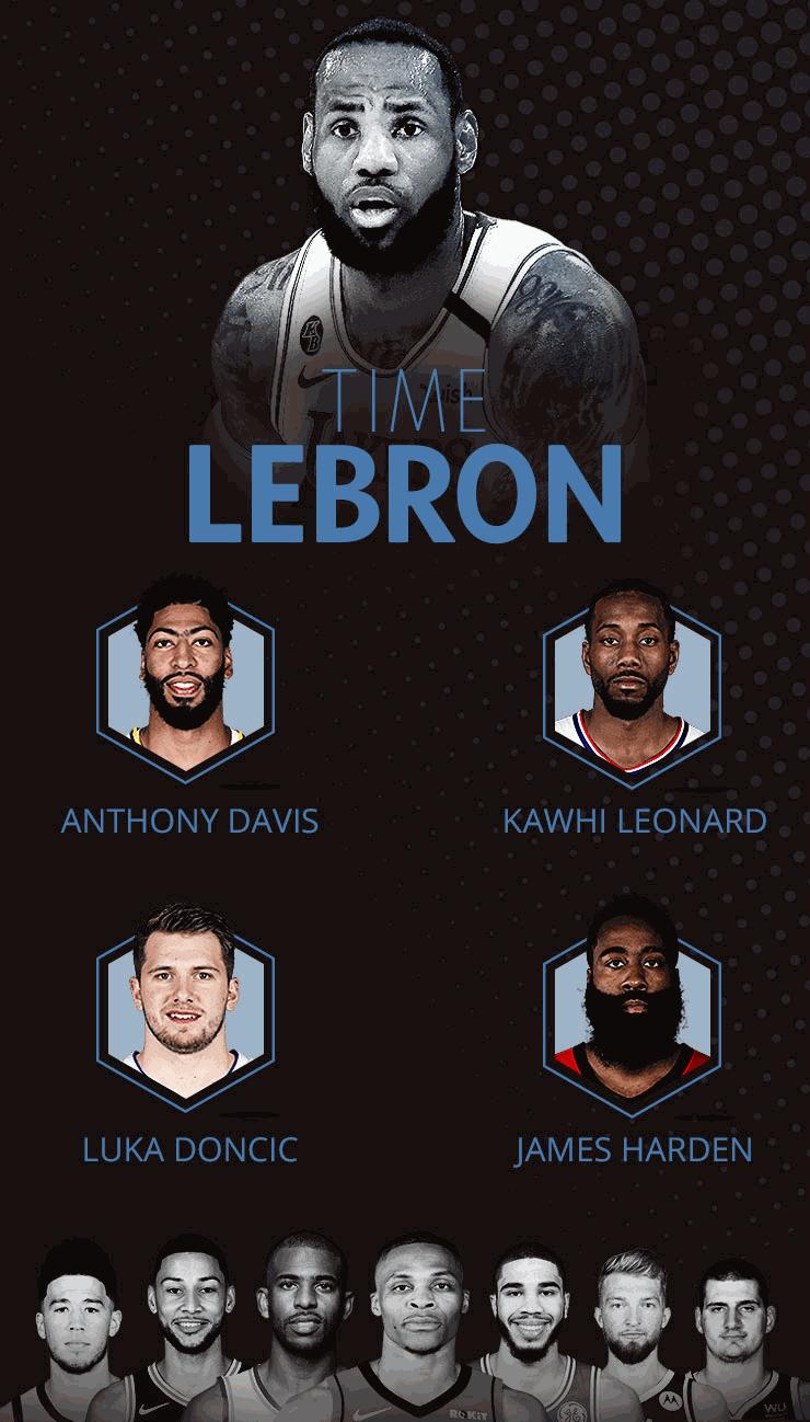 Time LeBron para o All-Star Game 2020 da NBA - Arte GloboEsporte.com