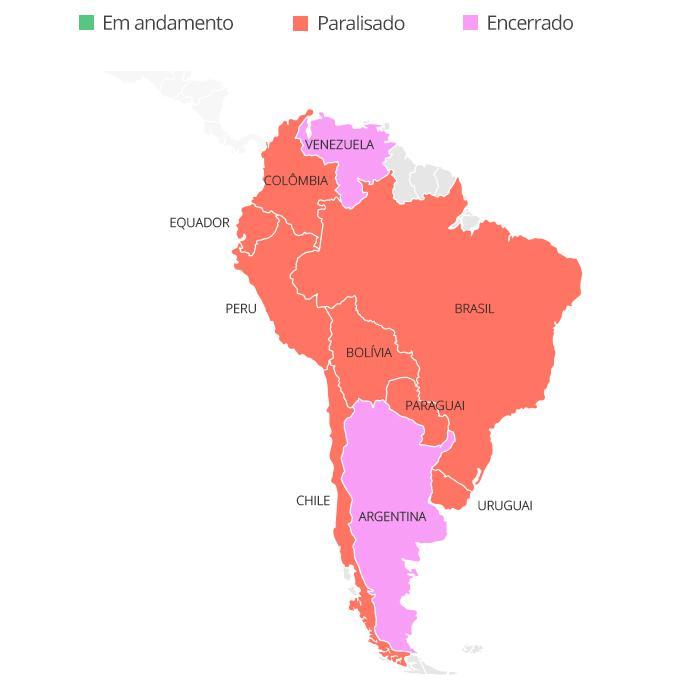 América do Sul Coronavírus mapa paralisação futebol - Infoesporte