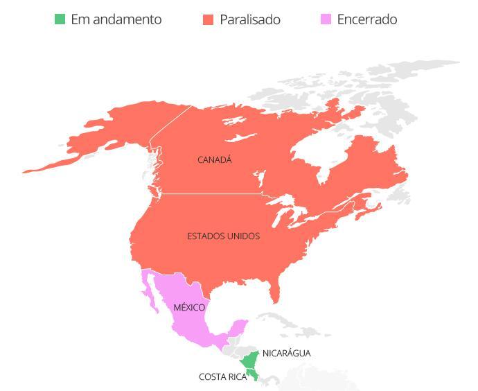 Mapa América Central Norte coronavirus - Infoesporte
