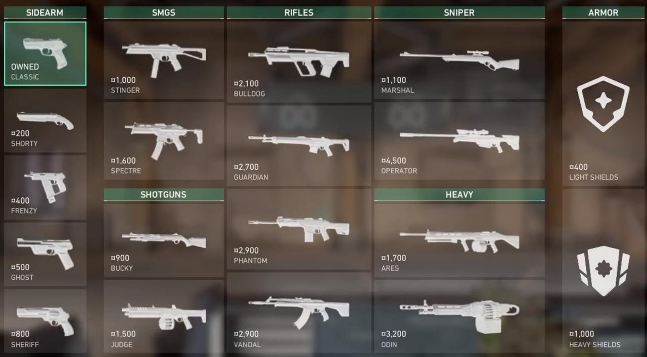 Arsenal de armas no Valorant - Reprodução