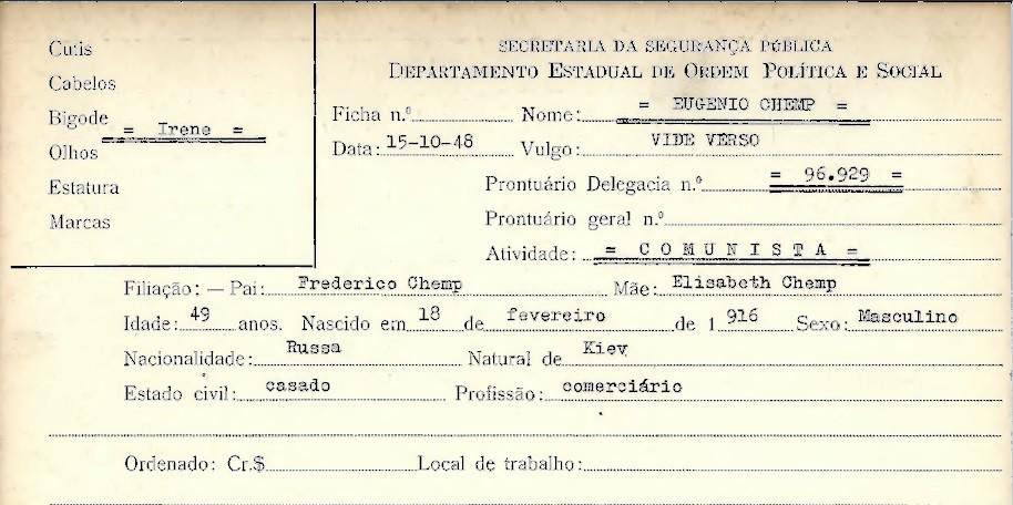Chemp é fichado pelo Deops - Arquivo Público do Estado de São Paulo/Reprodução