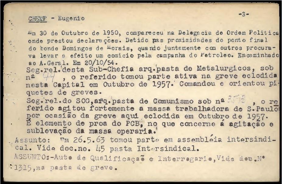 Parte da ficha de Chemp no Deops - Reprodução/Arquivo Público do Estado de São Paulo
