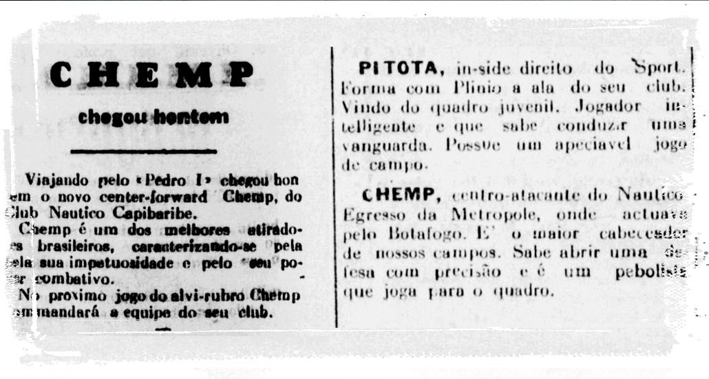 Jornal elogia Chemp na chegada ao Recife e após primeiros jogos pelo Náutico - Reprodução/Jornal Pequeno