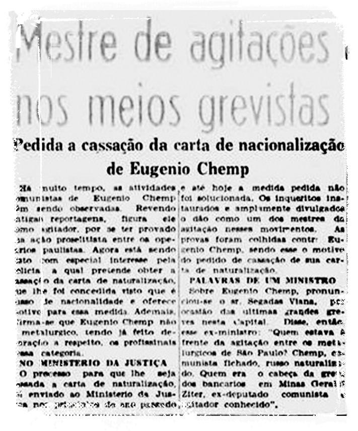 Chemp enfrentou processo para cancelamento de naturalização - Reprodução/Diario da Noite-SP