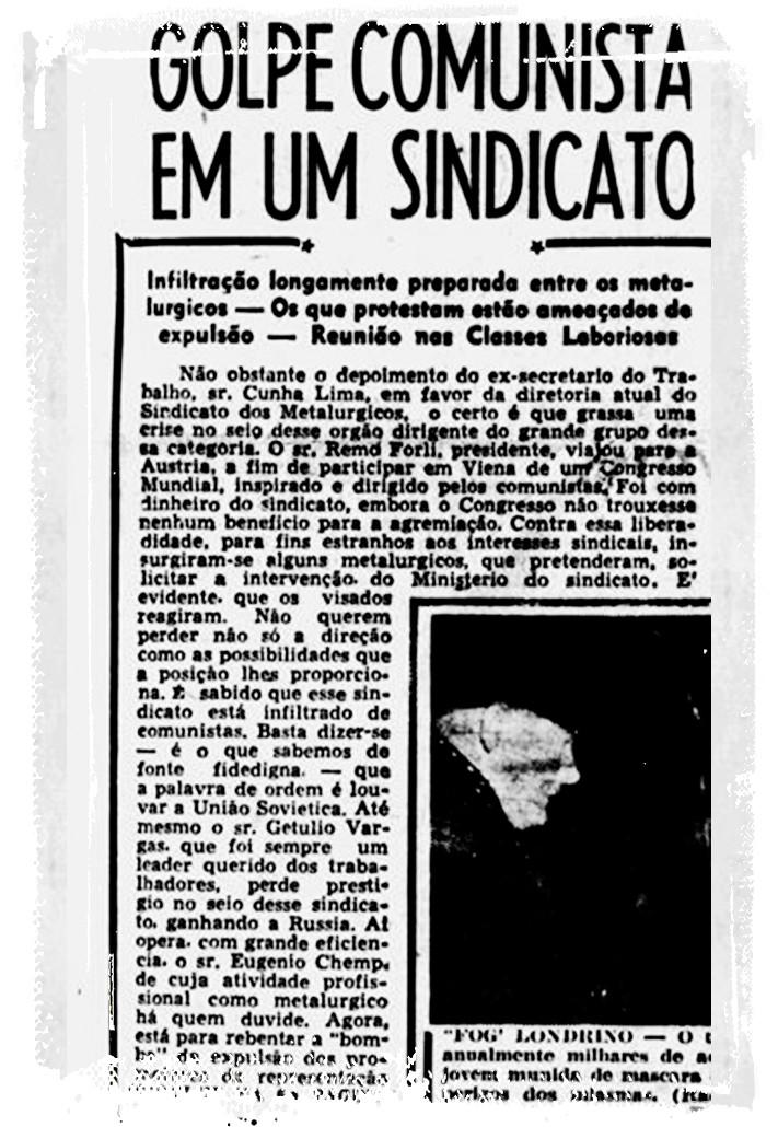 """Parte da imprensa noticiava chegada de chapa no sindicato apoiada por Chemp como """"golpe comunista"""", em 1953 - Reprodução/Diario da Noite-SP"""