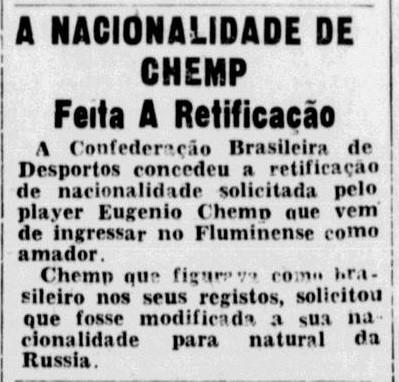 Chemp muda nacionalidade - Reprodução/ Jornal dos Sports