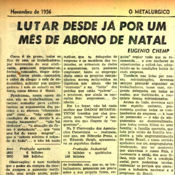 Chemp escreve artigo para jornal sindical O Metalúrgico sobre abono de Natal - Val Gomes/Reprodução O Metalúrgico