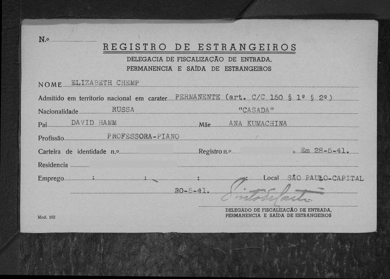 Registro de estrangeiro - Reprodução/Family Search