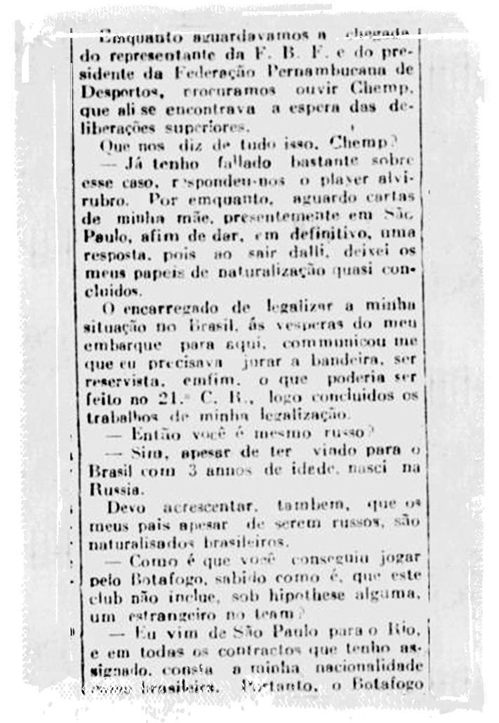 Em entrevista, Chemp confirma ter nascido no antigo Império Russo - Reprodução/Jornal Pequeno
