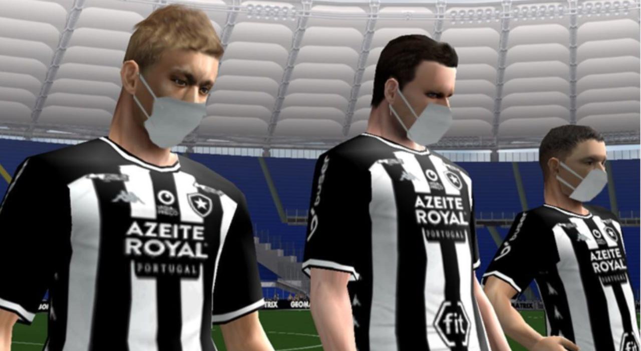 Honda e companheiros do Botafogo de máscara no Bomba Patch - Reprodução