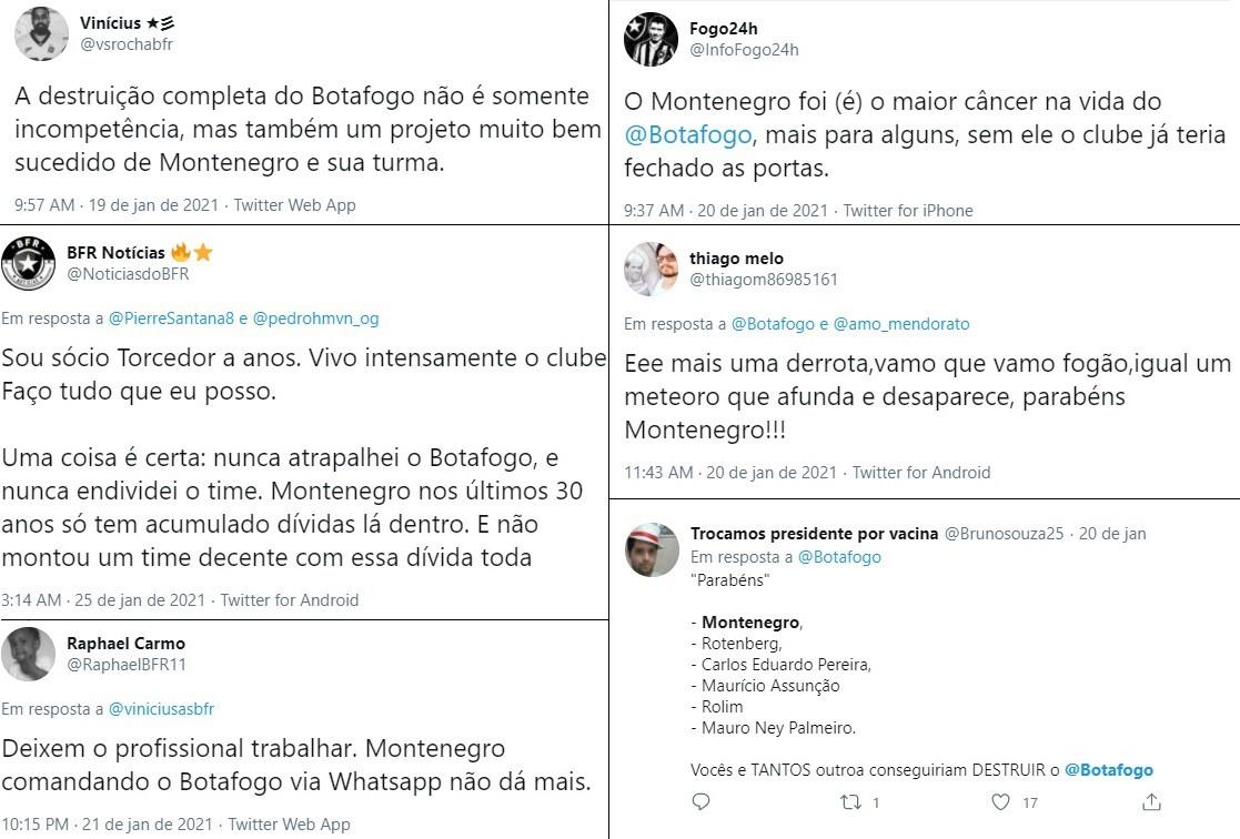 Torcedores criticam Montenegro nas redes sociais - Reprodução/Twitter