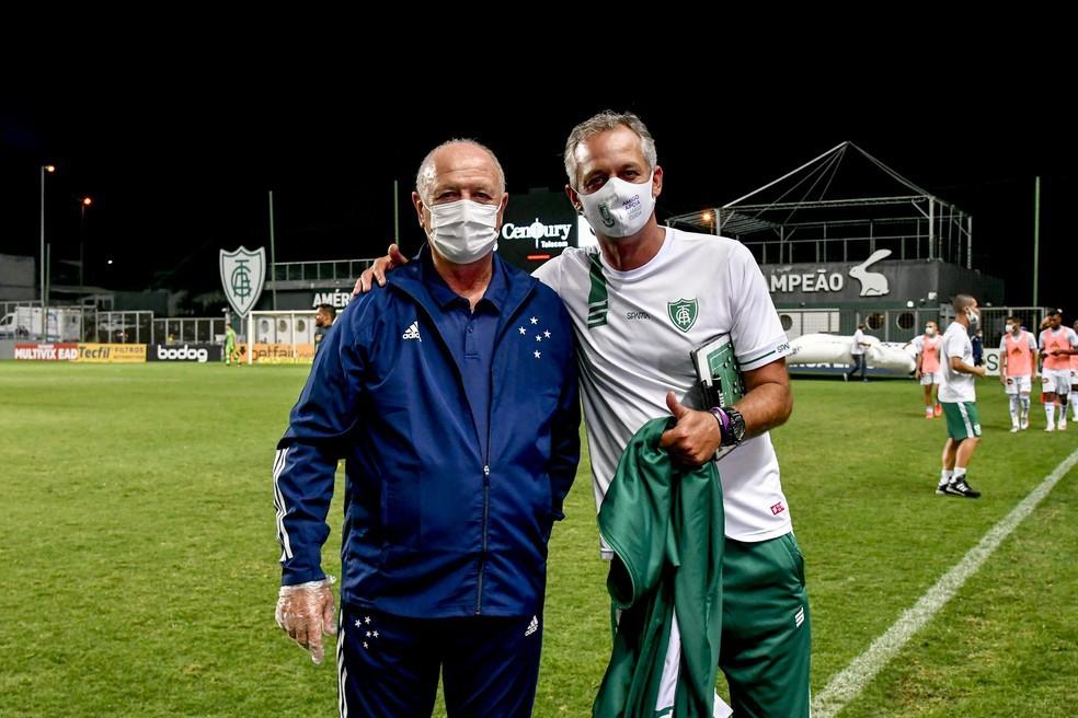 Felipão e Lisca durante duelo entre América-MG e Cruzeiro na Série B - Mourão Panda/América-MG