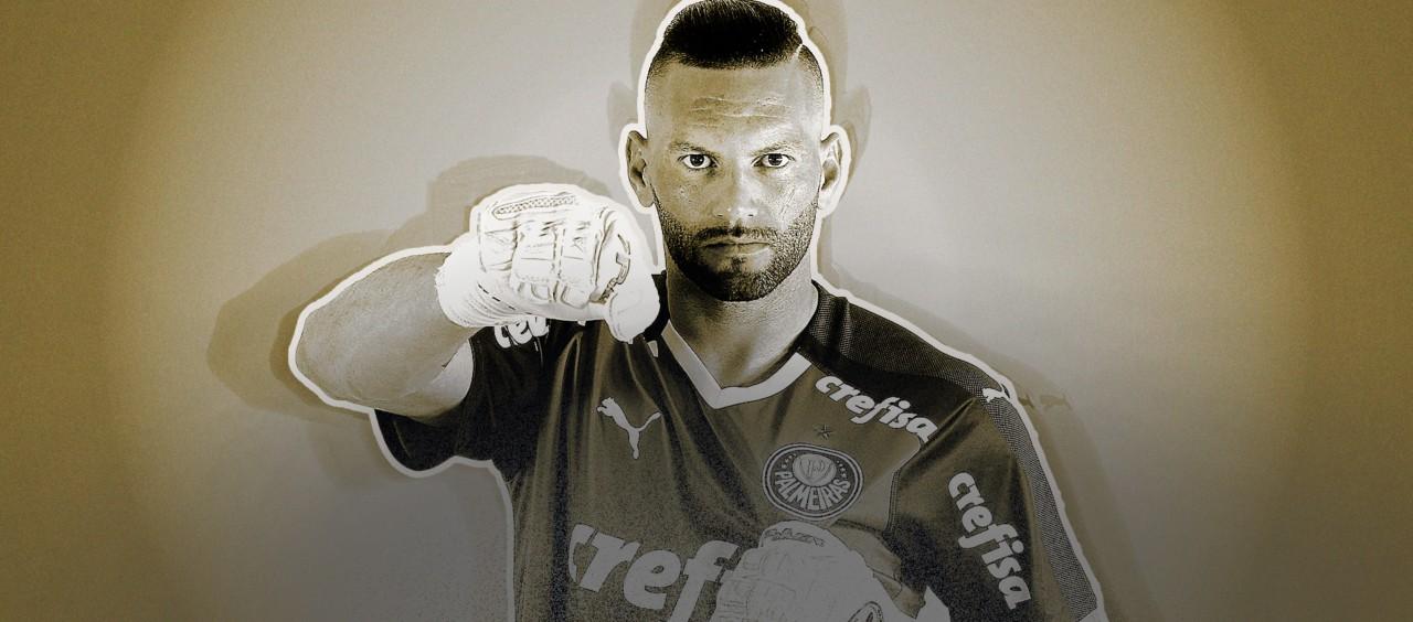 Abre Weverton, goleiro do Palmeiras - Arte sobre foto de César Greco/Ag. Palmeiras