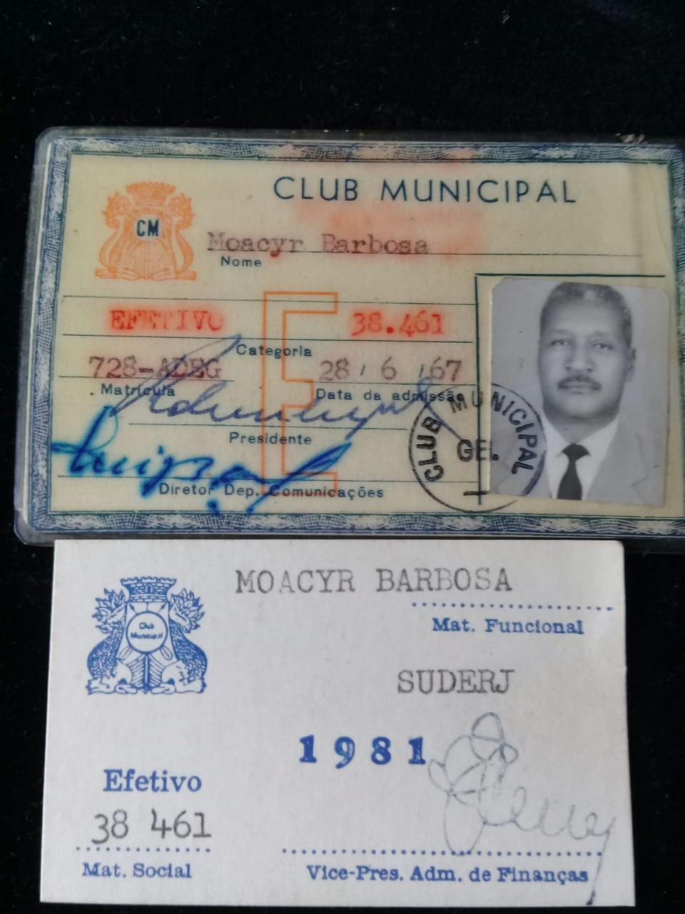 Barbosa trabalhou na Suderj e no Club Municipal depois da aposentadoria - Acervo pessoal Tereza Borba