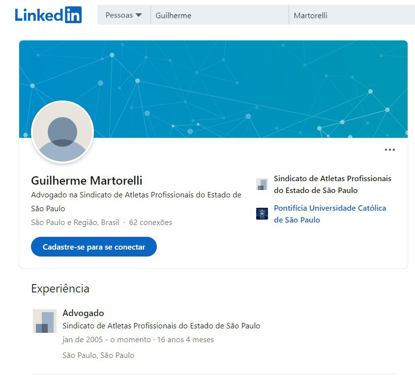 Perfil de Guilherme Martorelli no LinkedIn - Reprodução