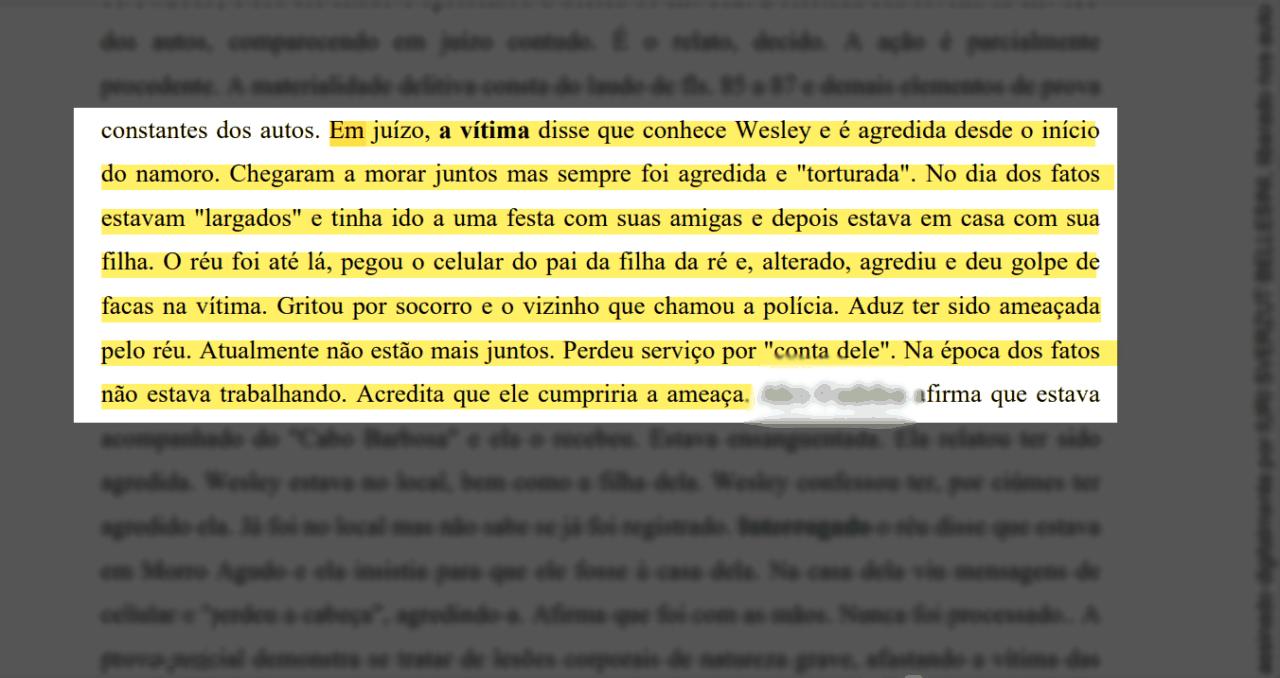Trecho de Termo de Audiência do caso de Wesley contém relato da agressão - Reprodução