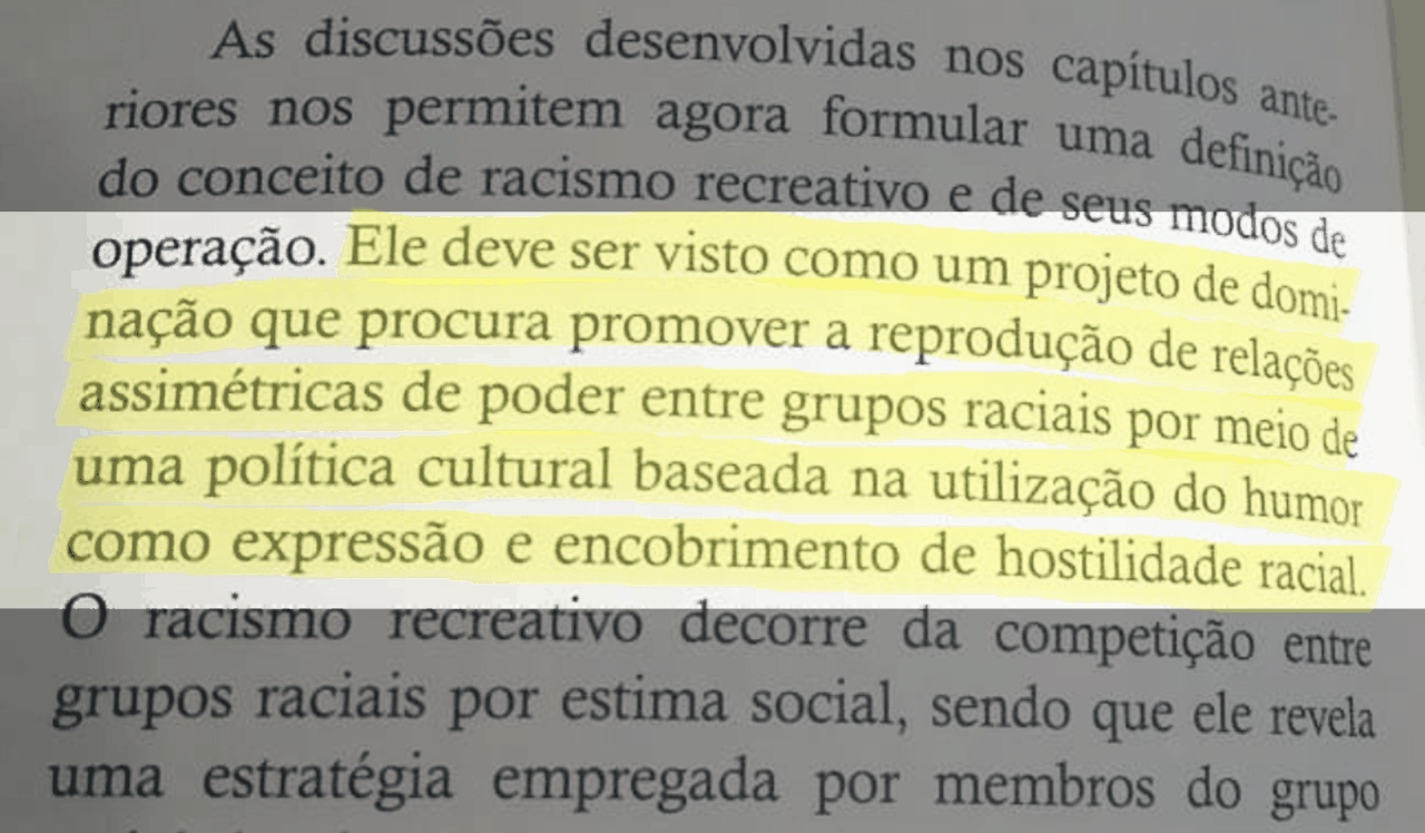 Trecho do livro 'Racismo recreativo', de Adilson Moreira - Rafael Santana