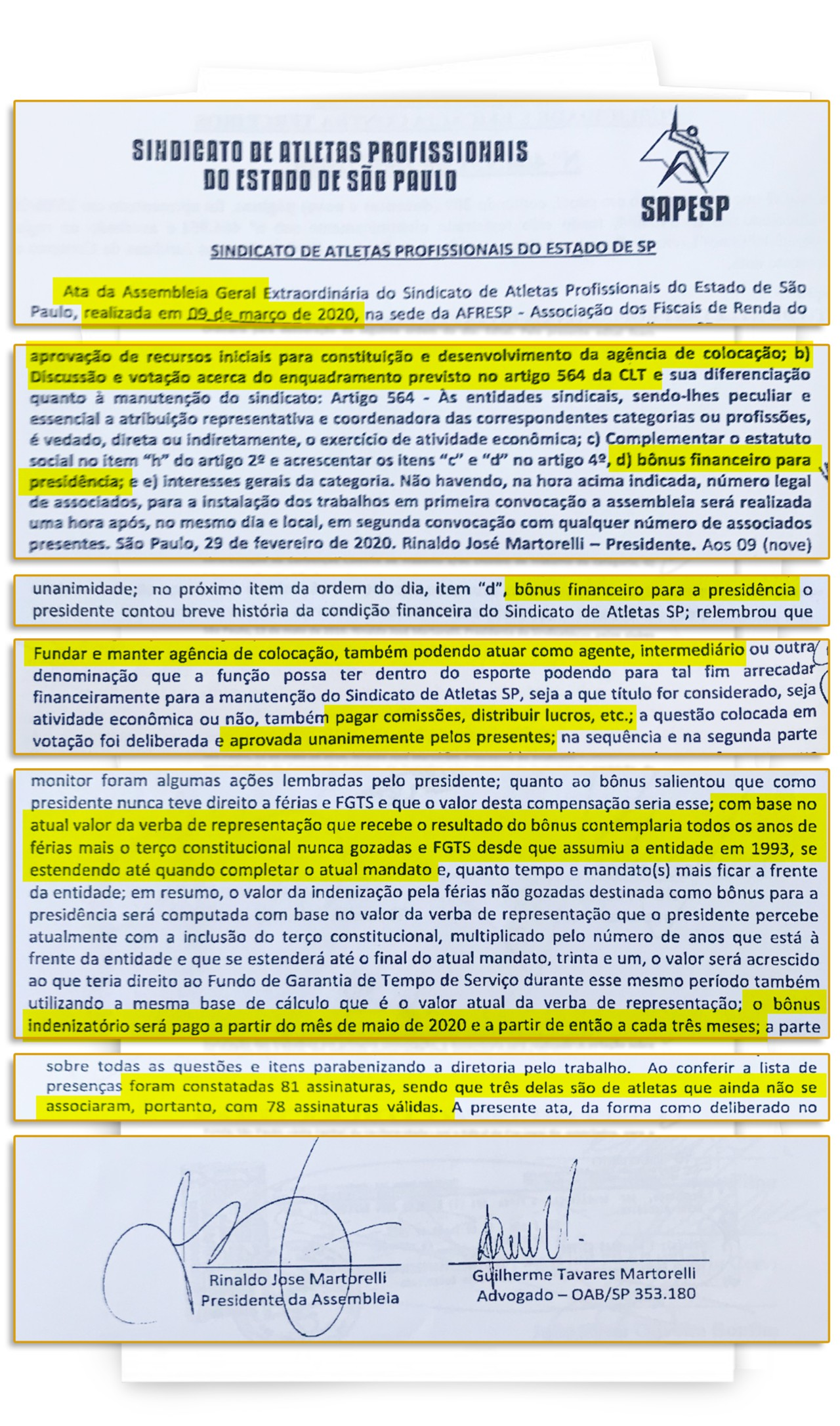 Martorelli aprova uma indenização para si mesmo e chama de bônus - Reprodução