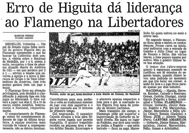"""Reportagem do jornal """"O Globo"""" relata gol de Renato em Higuita na vitória rubro-negra por 1 a 0 - Reprodução / Jornal O Globo"""