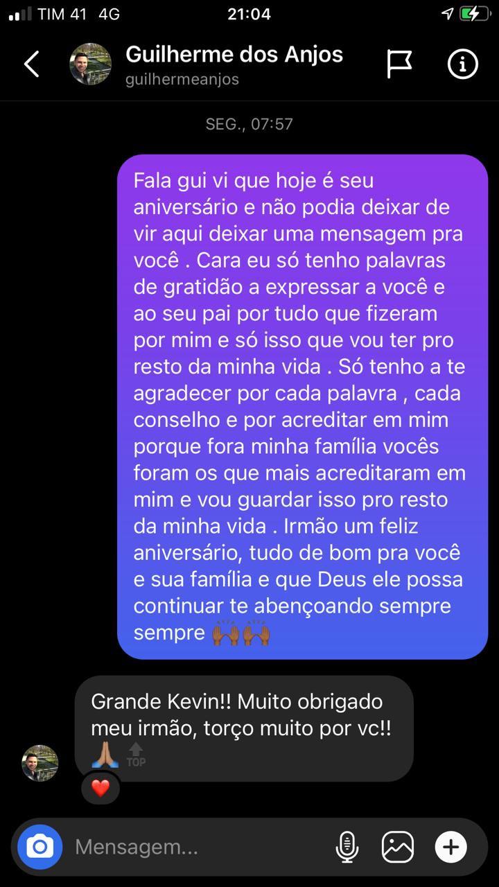 Kevyn enviou mensagem para Guilherme dos Anjos no aniversário - Reprodução/Instagram