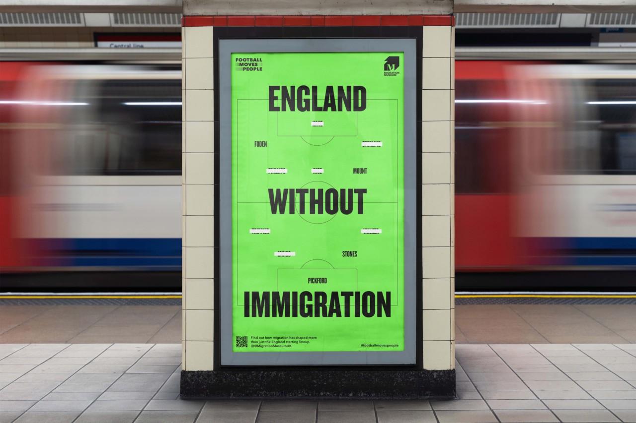 """Pôster do """"Museu da Imigração"""" que repercutiu em Londres durante a Euro-2020 - Divulgação / Migration Museum"""