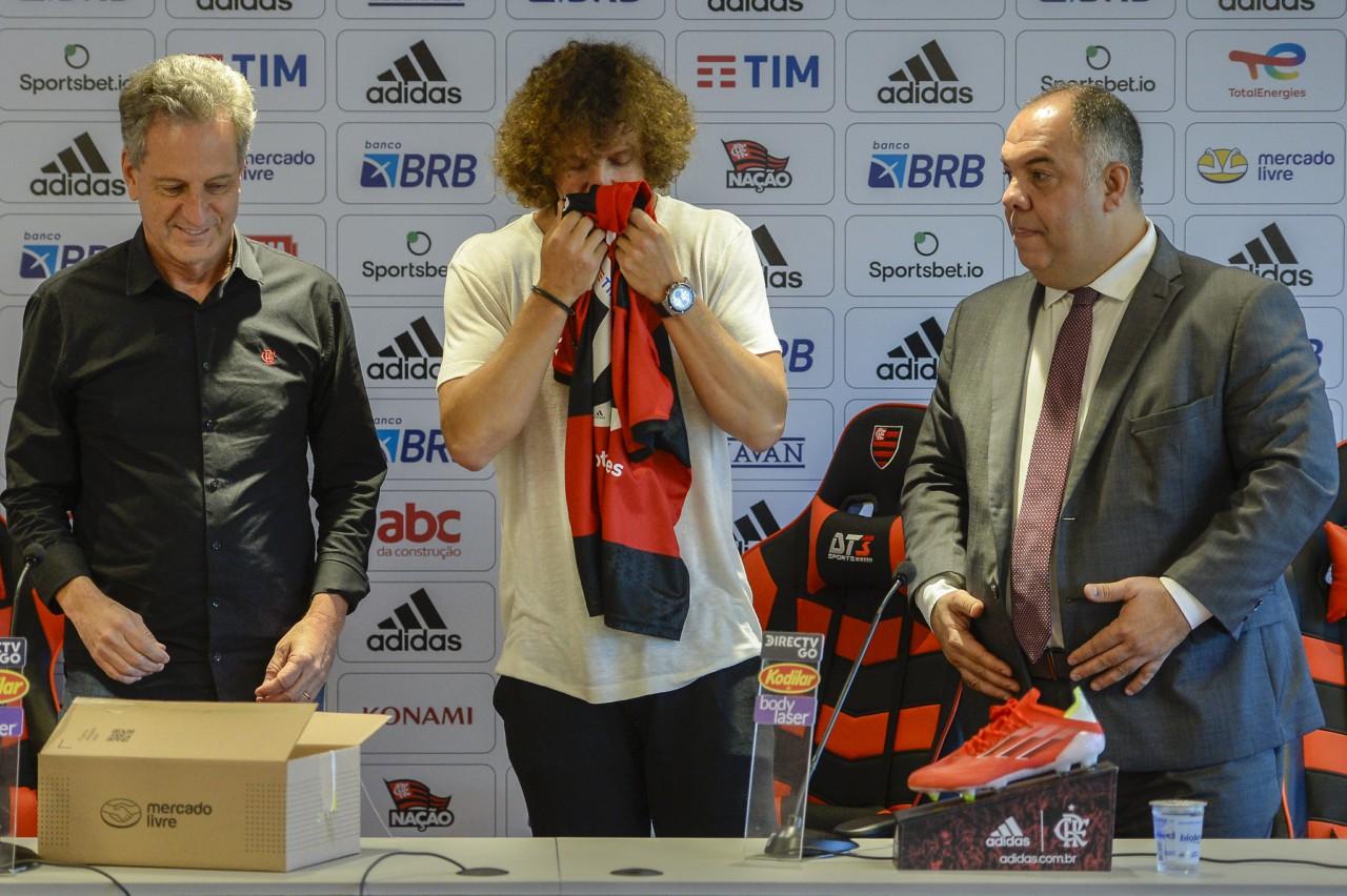 David Luiz em sua apresentação no Flamengo - Marcelo Cortes/Flamengo
