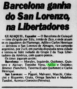 Jornal brasileiro registra vitória do Barcelona de Guayaquil sobre o San Lorenzo na Libertadores - Reprodução