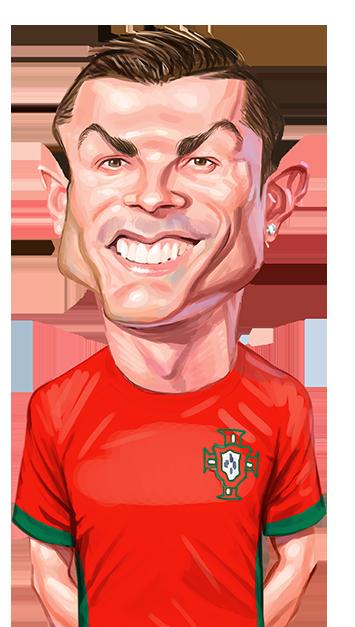 caricatura do jogador Cristiano Ronaldo