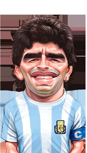 caricatura do jogador Maradona
