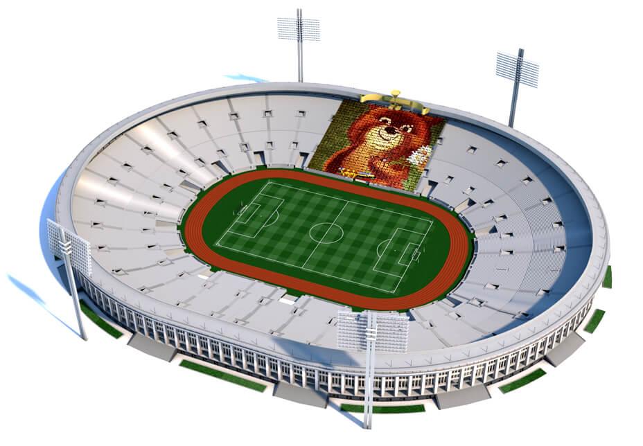 Imagem do ursinho Misha no estádio