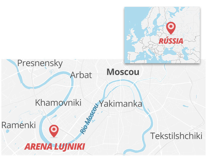 Localização do Estádio Olímpico Lujniki no mapa