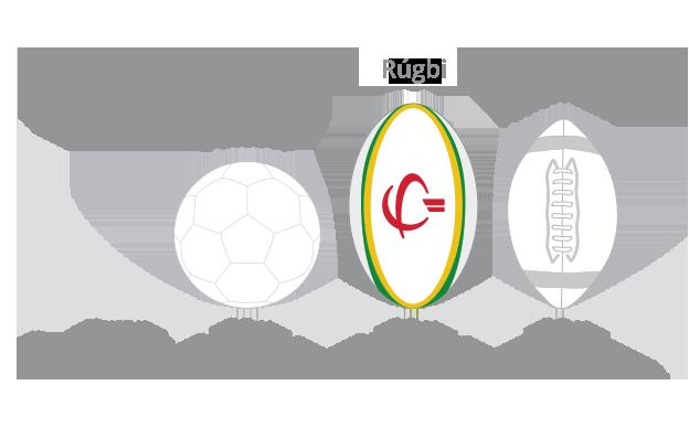 Comparação do tamanho da bola de rúgbi com a de futebol e futebol americano.